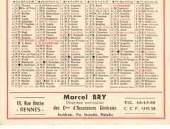 Calendrier Petit Format 1960, Marcel BRY De RENNES (35) Ille Et Vilaine - Calendriers