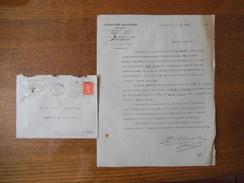 SAINT QUENTIN AISNE LEMAITRE-MALGRAS ARCHITECTE 7 PLACE DES ENFANTS DE CHOEUR COURRIER ET ENVELOPPE DU 16 AOUT 1927 - France