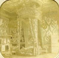France Château De Fontainebleau Chambre A Coucher Anciennne Photo Stereo Transparente 1860 - Photos Stéréoscopiques