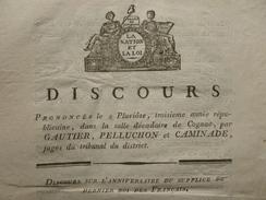 DISCOURS SUR L'ANNIVERSAIRE DU SUPPLICE DU DERNIER ROI FRANCAIS 1794 - Historische Documenten