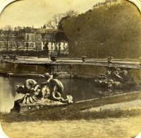 France Versailles Château Bassin De Neptune Anciennne Photo Stereo Transparente 1860 - Stereoscopic