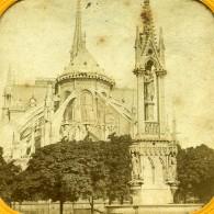 France Paris Cathedrale Notre Dame Archevêché Anciennne Photo Stereo Transparente 1860 - Stereoscopic