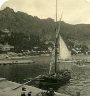 France Beaulieu-sur-Mer Le Port Voilier Ancienne Photo Stereo NPG 1905 - Stereoscopic