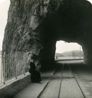 France Beaulieu-sur-Mer Sur La Route Tunnel Ancienne Photo Stereo NPG 1905 - Stereoscopic