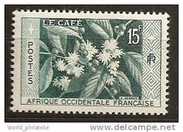 Afrique Occidentale Francaise AOF 1956 N° 62 ** Café, Fleurs, Flore