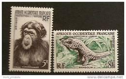 Afrique Occidentale Francaise AOF 1955 N° 51 / 2 ** Protection De La Nature, Singe, Chimpanzé, Pangolin