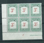 Seychelles 1951 Postage Dues 3c Green Plate Number Block Of 6 MNH - Seychelles (...-1976)