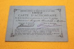 Carte D'actionnaire 1892 Compagnie Générale De Navigation De  Du Lac Léman - Altri