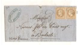 France N 28 A Paire Sur Lettre  - NAPOLEON III 10 Cts - Sur Lettre - Losange Gros Chiffres - 1863-1870 Napoleon III With Laurels