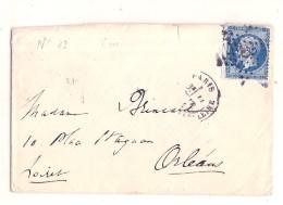 France N 22  20 Cts Bleu Sur Lettre - étoile Gros Chiffre Sur Lettre  Après Le Départ - 1862 Napoleon III