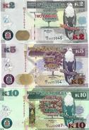 ZAMBIA 2 5 10 KWACHA 2012 (2013) P-49a 50a 51a UNC SET [ZM152a 153a 154a] - Zambia