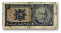 CZECHOSLOVAKIA - 20 Korun - 1.10.1926 - Pick 21 - Serie Te - Dr. Alois Rasin - 2 Scans - Tchécoslovaquie