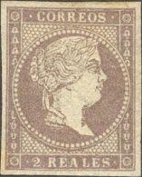 ISABEL II Isabel II. 1 De Enero De 1856. Filigrana Líneas Cruzadas * 46 - 1850-68 Kingdom: Isabella II