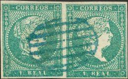 ISABEL II Isabel II. 1 De Enero De 1856. Filigrana Líneas Cruzadas º 45(2) - 1850-68 Kingdom: Isabella II