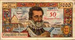 FRANCE 5000 FRANCS SURCHARGE HENRI IV Du 30-10-1958  Pick 139  F54/1 - 1955-1959 Surchargés En Nouveaux Francs