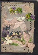 22 . CARTE CELLULOID .    . 2 SCANS . COLOMBES . HIRONDELLES - Cartes Postales