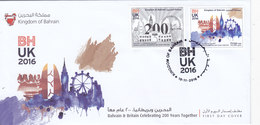 Bahrain New Issue 2016, 200th Ann.Cooperation With UK - 2 Stamps Complete Set Pn Official Illustrated FDC- Scarce - Bahrain (1965-...)