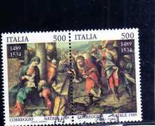ITALIA REPUBBLICA ITALY REPUBLIC 1989 NATALE CHRISTMAS NOEL WEIHNACHTEN SERIE DITTICO BLOCK SET USATA USED OBLITERE' - 1946-.. Republiek