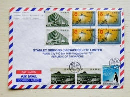 Cover From Japan Sent To Singapore 1999 9 Post Stamps Sport Landscapes Penguin - 1989-... Emperor Akihito (Heisei Era)