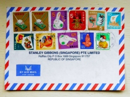 Cover From Japan Sent To Singapore 1996 11 Post Stamps - 1989-... Emperor Akihito (Heisei Era)