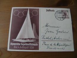 Jeux Olympiques  1936 Voile Kiel Entier Postal - Ete 1936: Berlin