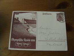 Jeux Olympiques  1936 Belin Entier Postal