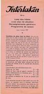 Brochure * Interlaken * Switzerland * Liste Des Hôtels Avec Plan De Situation * Renseignements Généraux * 1957 - Folletos Turísticos