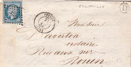LETTRE.  23 MAI 58.   SEINE INFERIEURE  YVETOT .  BOITE RURALE :   D   ETOUTTVILLE   /  52 - Marcophilie (Lettres)