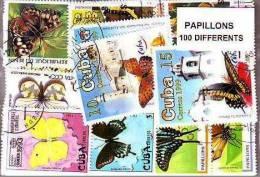 PAPILLONS Lot De 100 Timbres Tous Differents. Satisfaction Assurée - Butterflies