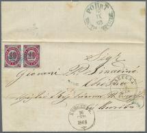 "1868, 10 K. Horizontal Pair Canc. Blue Lozenge On Entire Folded Letter W. On Reverse Blue ""ROPIT KONSTANTINOPEL 10..."