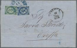 "1872, 3 K. And 5 K.  Tied Blue ""KONSTAN. 14 NOV 1875"" To Folded Envelope To Odessa W. 16 Nov. Arrival, Filing Bends..."