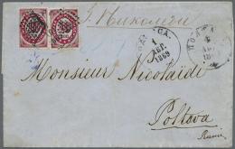 """1868, Two Single 10 K. Tied Black Lozange To Folded Envelope From """"KONSTANTINOPOLI 29 MAR 1869"""" Via Odessa Apr. 4 ..."""