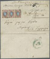 1866, Freimarken 10 Kop Im Waagerechten Dreierstreifen Auf Brief Ab Konstantinopel Mit Blauem Stempel Nach...