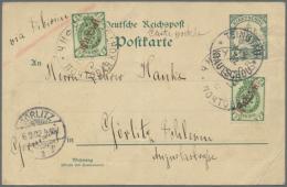 "1902, Kiautschou, Postkarte 5 Pf Schiffstype (gest. K1 ""Tsingtau 11/8 02"") In MischFr. Mit 2x Russ. Post In China 2..."