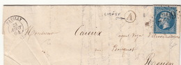LETTRE.   23 AOUT 64.   SEINE INFERIEURE  PAVILLY.  BOITE RURALE :    A   LIMESY   /  55 - Marcophilie (Lettres)