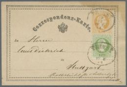 """1869, GA-Karte 2 Kr. Gelb, Vs. """"An"""" (oben Rechts Fleckig, Rs. Kl. Haftstellen) Mit Zusatzfrankatur 3 Kr. Grün,... - Stamped Stationery"""