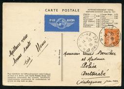 Paix N° 286: CP Avion Pour MADAGASCAR Du 19/12/1936 Au Tarif Du Jour De L'An - 1921-1960: Période Moderne