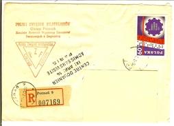 ENVELOPPE TIMBRE POLONAIS 60 RECOMMANDE POZNAN CENTRE DOUANIER SANS VISITE - 1944-.... Republic