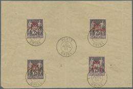 """1901, Peking Provisional Issue, Complete Set Of Four Stamps On Piece, Neatly Oblit. By C.d.s. """"PEKIN CHINE 21 AVRIL..."""