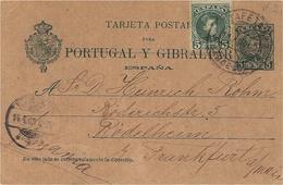 1903- C P E P 5 Centimos + Compl. 5 C. De Barcelone  Pour Francfort ( Allemagne ) - Storia Postale