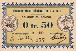 * SENEGAL 50 CENTIMES 1917 P-1 AU/UNC SIGN. POESSON & DIDELOT [SN201e] - Senegal
