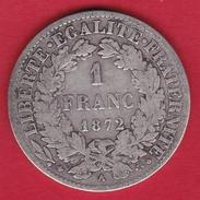 France 1 Franc Cérès 1872 A (petit A) - H. 1 Franco