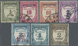 """1931 - 1932, Postauftrags-Portomarken Von Frankreich Mit Aufdruck """"ANDORRE"""", Sauber Gestempelt, M€600,-. (D)"""