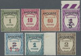 """1931 - 1932, Postauftrags-Portomarken Von Frankreich Mit Aufdruck """"ANDORRE"""", Sauber Ungebraucht, Teils Vom..."""