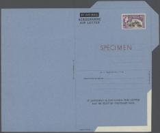 "1953 (ca.), Airletters QEII 12 Or 15 Cents (5) W. Perfin Resp. Imprint ""SPECIMEN""; H&G 5, 6, 7, 7a, 8. (ex J...."