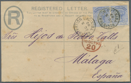 1893 (5.10.), Registered Letter From TRINIDAD Uprated With Horiz. Pair QV 2½d. Bright Blue Used To...