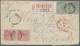 1887, Registered Letter Franked With 10  D Rate FromTRINIDAD To Colchester, England. Some Perforations Slightly...