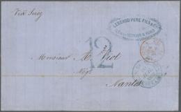 1862, Folded Envelope Tied By Blue St. Denis Ile De La Reunion Cds. Written On 8 July 1862, Posted On 10th Of July,...