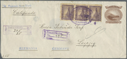 1904, 20 C Brown Volcano Momotombo Postal Stationery Envelope In Large Formate, Uprated With 3 X 10 C Violet Stamps... - Nicaragua