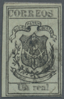 Dominican Republic, 1866-67 1 Real Black On Pale Green Wove Paper, VARIETY DOUBLE PRINT OF THE INSCRIPTIONS:... - Dominican Republic